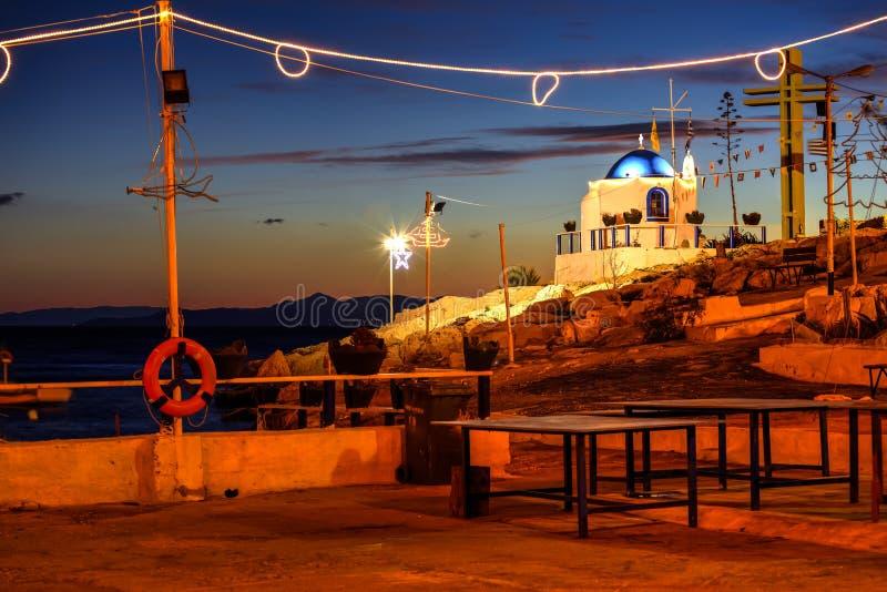 Small Greek chapel at dawn royalty free stock images