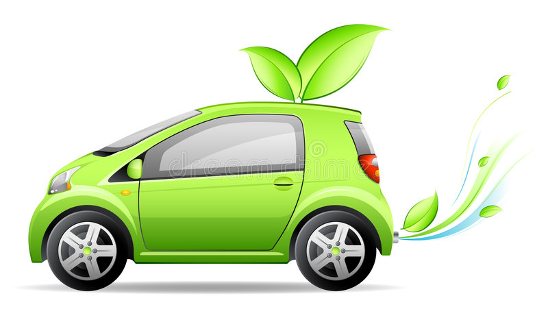 Small green car. With leaves royalty free illustration