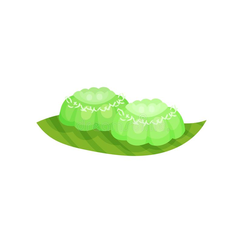 Small green colored cakes Putu Ayu . Traditional Indonesian snack. Flat vector icon of delicious dessert. Small green colored cakes Putu Ayu with shredded royalty free illustration