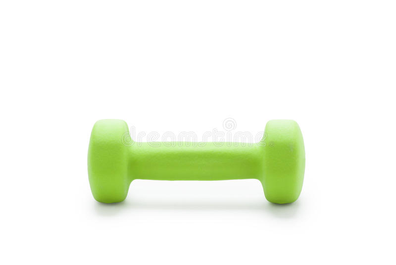 Small green dumbbell,. In white background stock photography