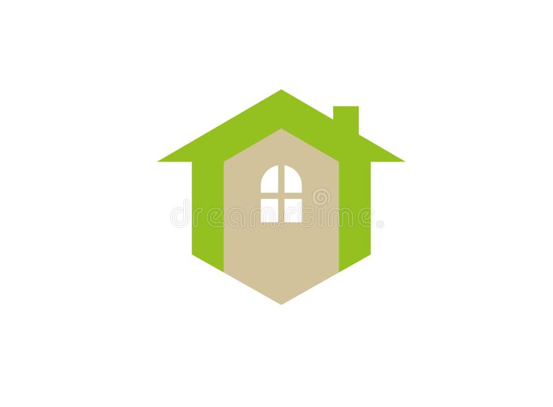 A small green home symbol with window and chimney for logo design stock illustration