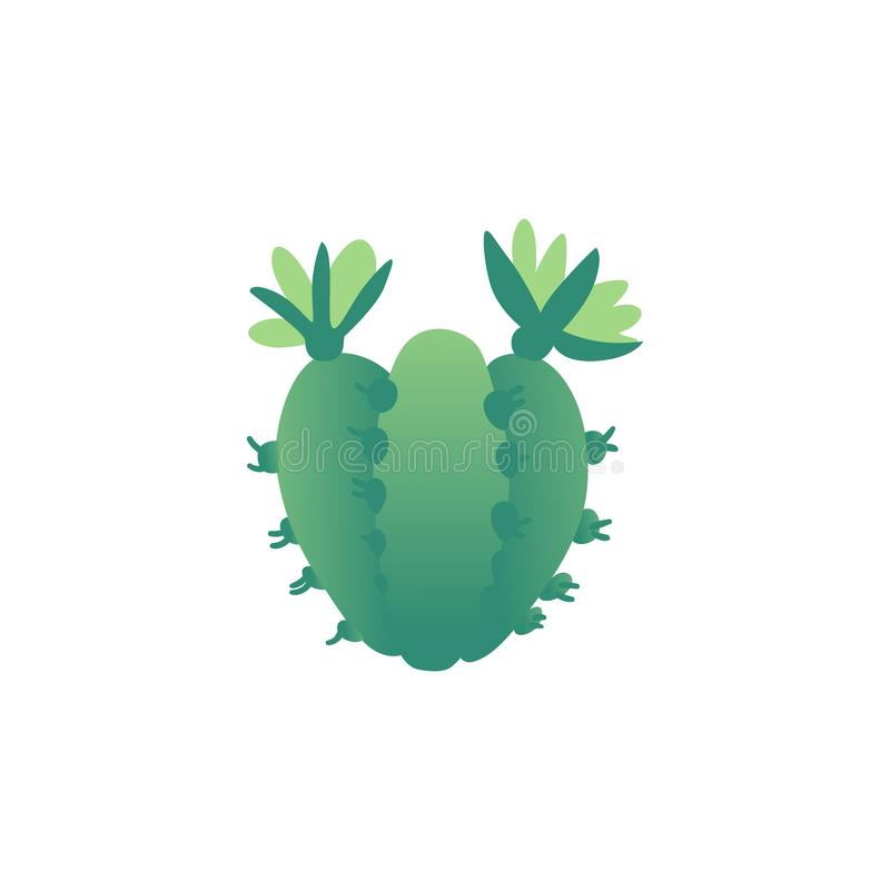 Small green spiky cacti with flowers, thorns and spikes. Joined garden plants from desert flora. Simple vector illustration isolated on white background royalty free illustration
