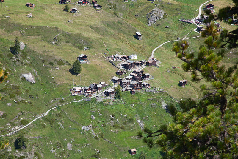 Small Green Village In The Alps Royalty Free Stock Images