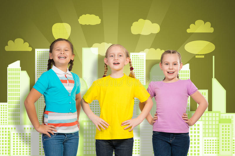 Small group of girls stock photo