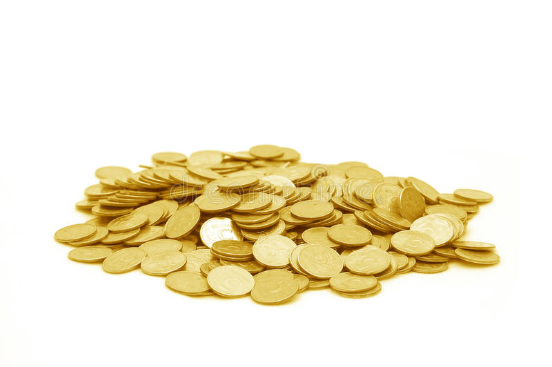 Small group of the scattered coins royalty free stock photo
