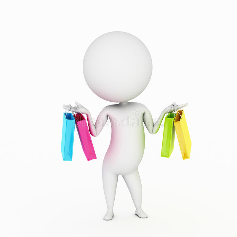 Small guy with shopping bags royalty free illustration