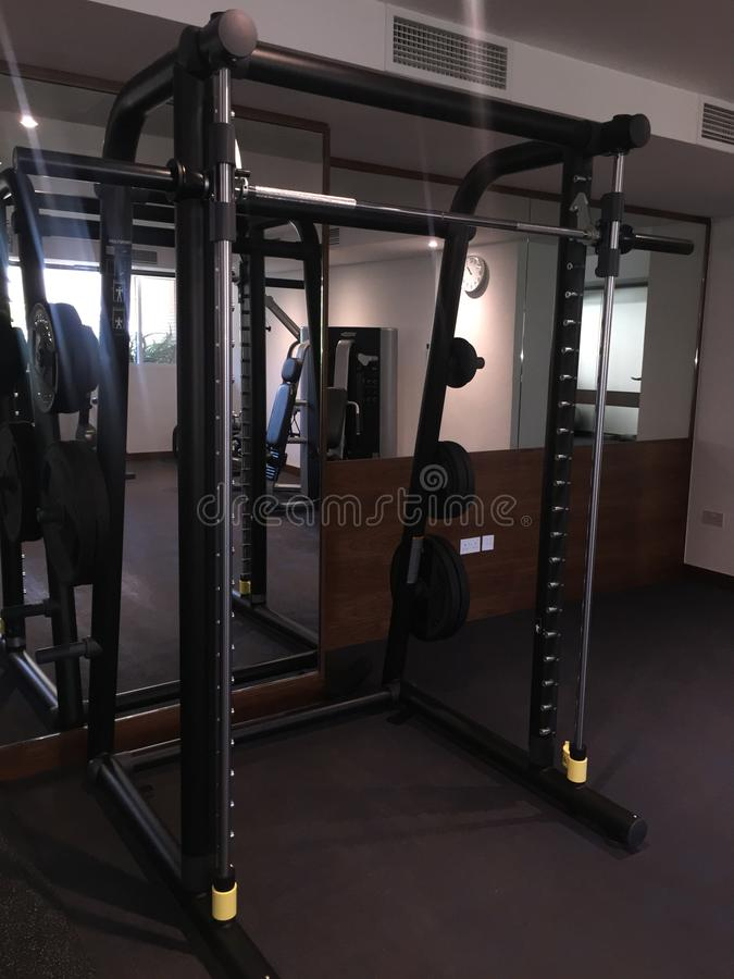 Small Gym Equipment in an apartment complex stock photo
