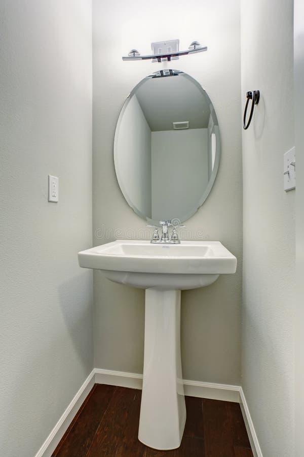small half bathroom. Download Small Half Bathroom With Hardwood Floor. Stock Image - Of Small, Bright