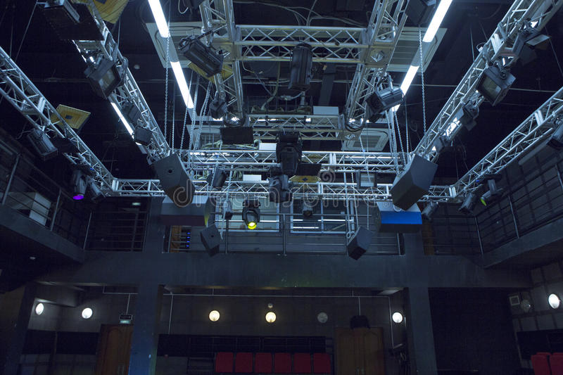 Small Hall of chamber theater scene. The lighting system of a small chamber hall of the theater scene stock image