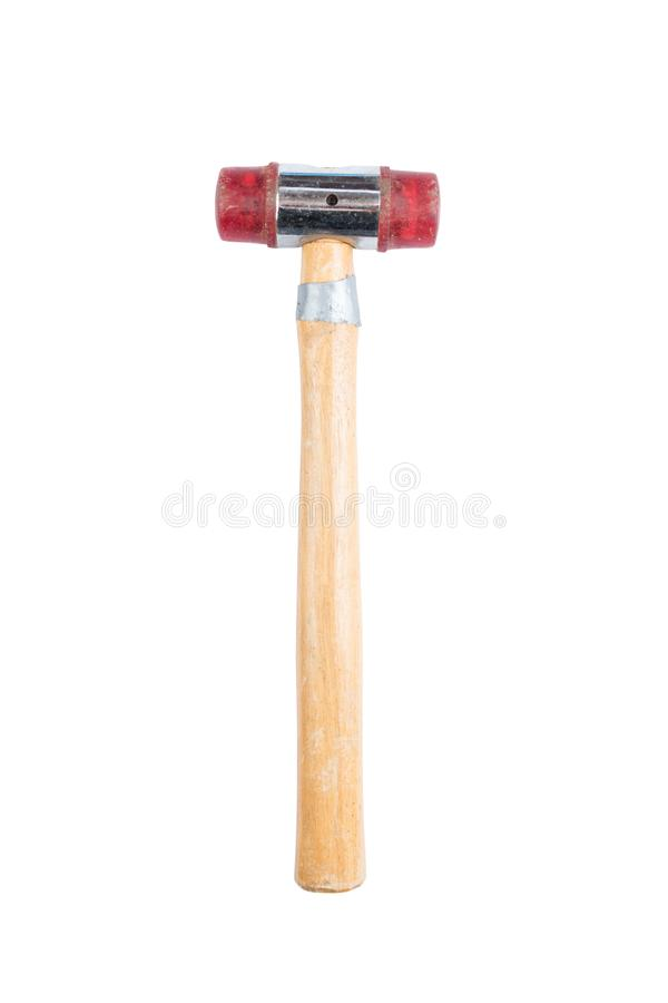 Small hammer with wooden handle and red rubber head isolated on a white background. Path saved. Construction equipment. royalty free stock image