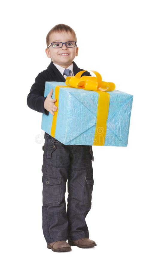 Small happy boy in spectecles with big present royalty free stock images