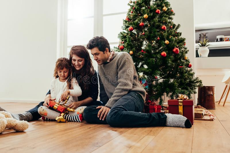 Family celebrating Christmas at home. royalty free stock image