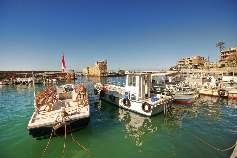Small harbor, Byblos lebanon stock images