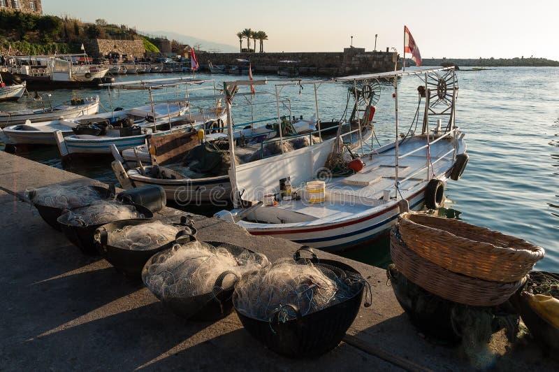 Small harbor in Lebanon stock image