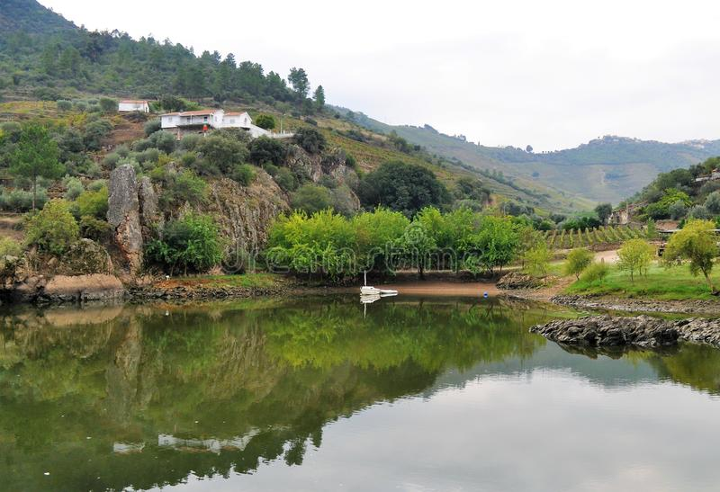 Small harbor on the river and the water mirror - Douro river stock photos