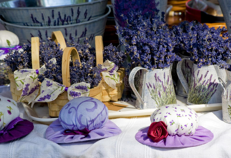 Small hats with lavender royalty free stock photography