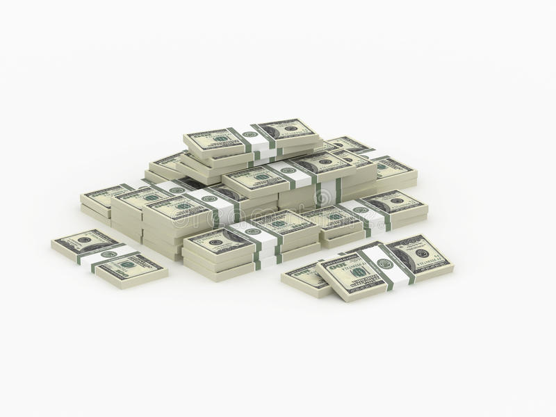 SMall heap of money packs. Money paks stored in stacks and in heap stock illustration