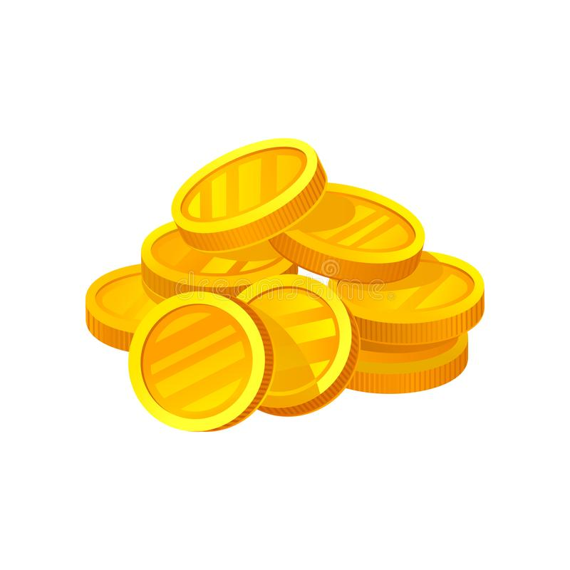 Small heap of shiny golden coins. Symbol of wealth. Investment and finance theme. Flat vector design for mobile game or. Small heap of shiny golden coins. Symbol royalty free illustration