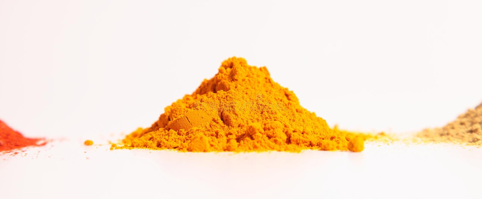 Download Small Heap Of Spices, The Turmeric Powder, Coriander Powder And Red Chilli Powder Stock Photo - Image: 33801624