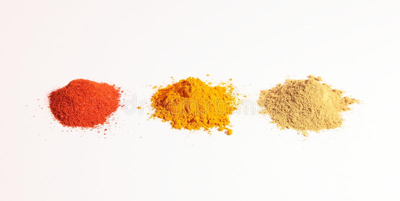 Download Small Heap Of Spices, The Turmeric Powder, Coriander Powder And Red Chilli Powder Stock Image - Image: 33801705
