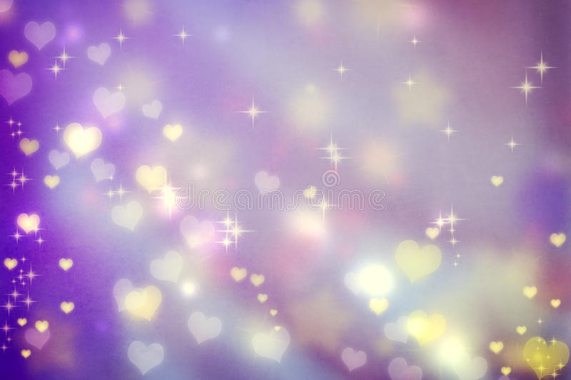 Small hearts on purple background. Golden small hearts on purple background with stars vector illustration