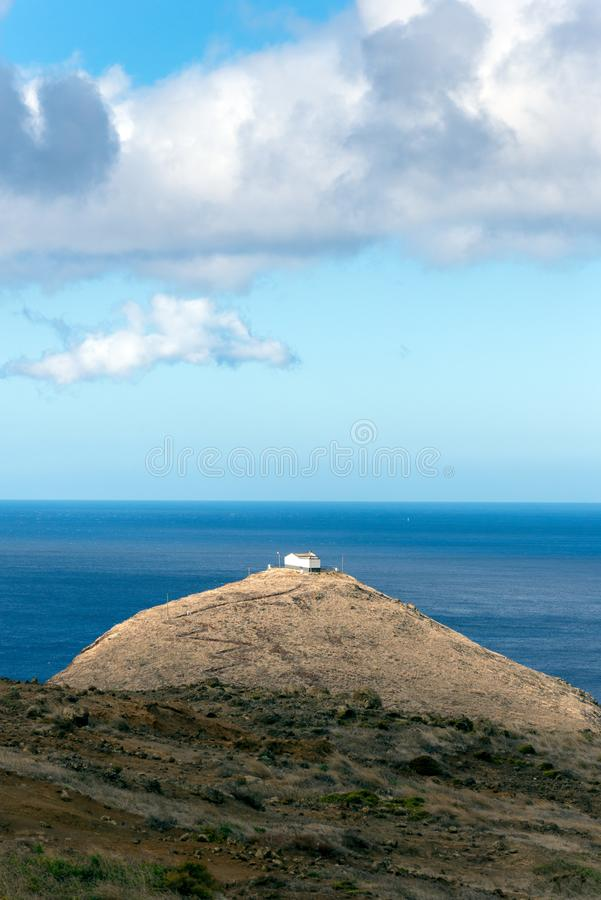 Small hermitage on the coast of the island of Madeira, next to t stock images