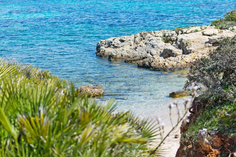 Small hidden cove. In Alghero, Sardinia stock photography