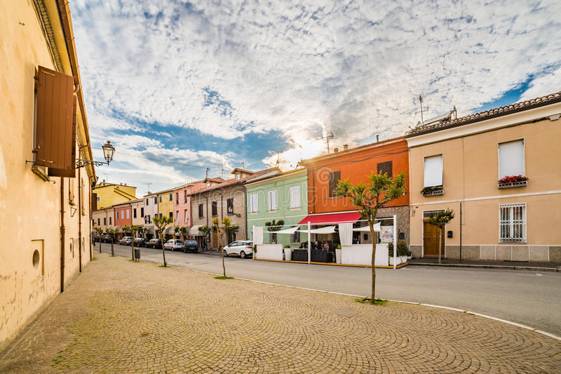 A small hilltop village streets stock photography