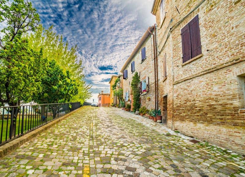 A small hilltop village streets stock photos