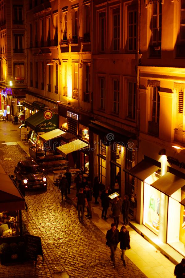 The small historic streets of old Lyon at night with long exposu royalty free stock image