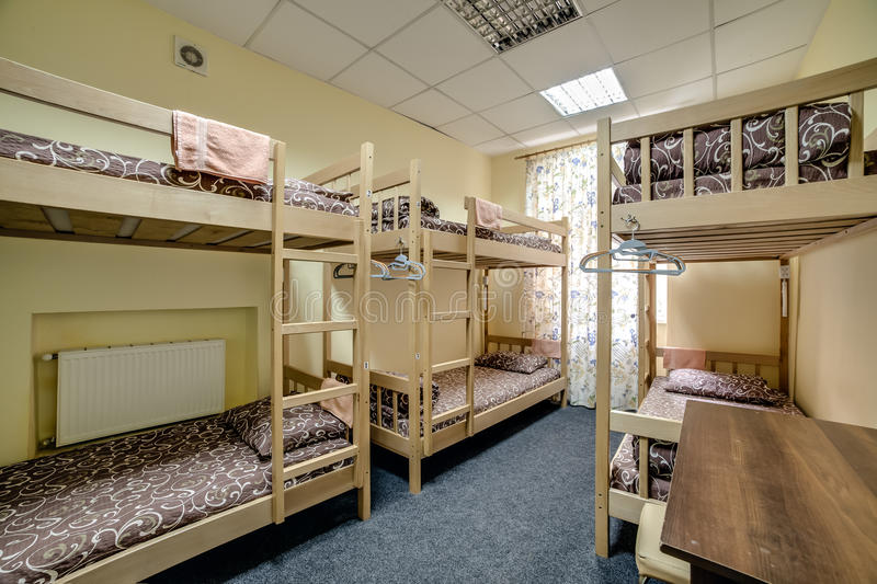 Download Small Hostel Room With Bunk Beds Stock Photo