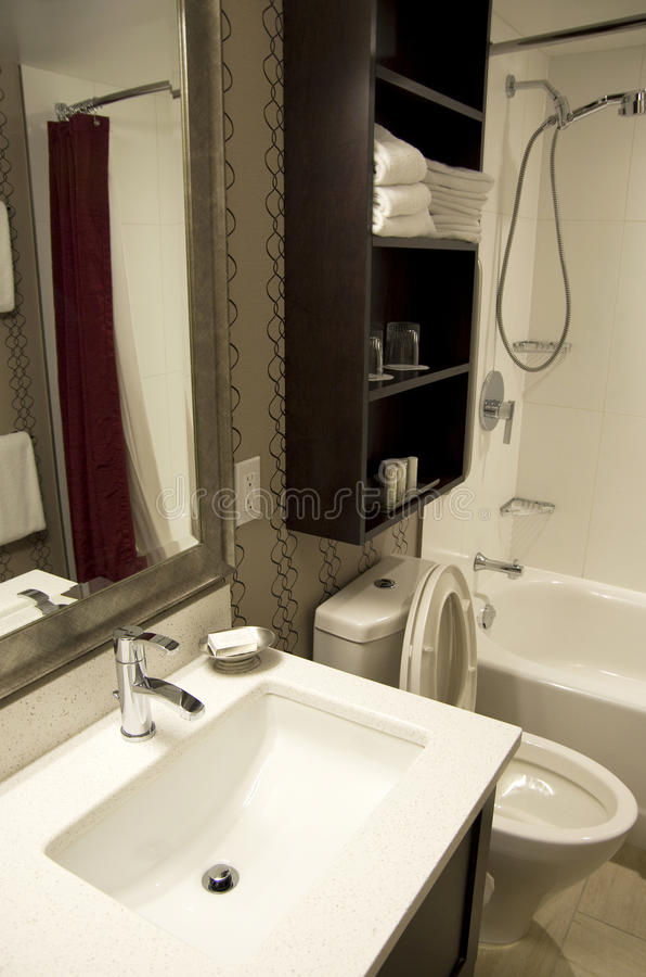 Small hotel bathroom stock photography