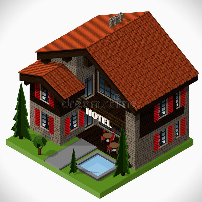 The small hotel. stock illustration