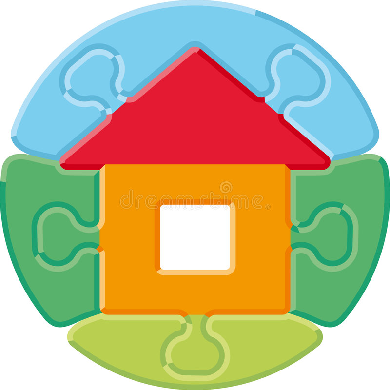 Small house – puzzle vector illustration