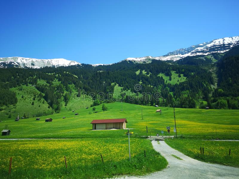 Small house in the Austrian Alps royalty free stock images