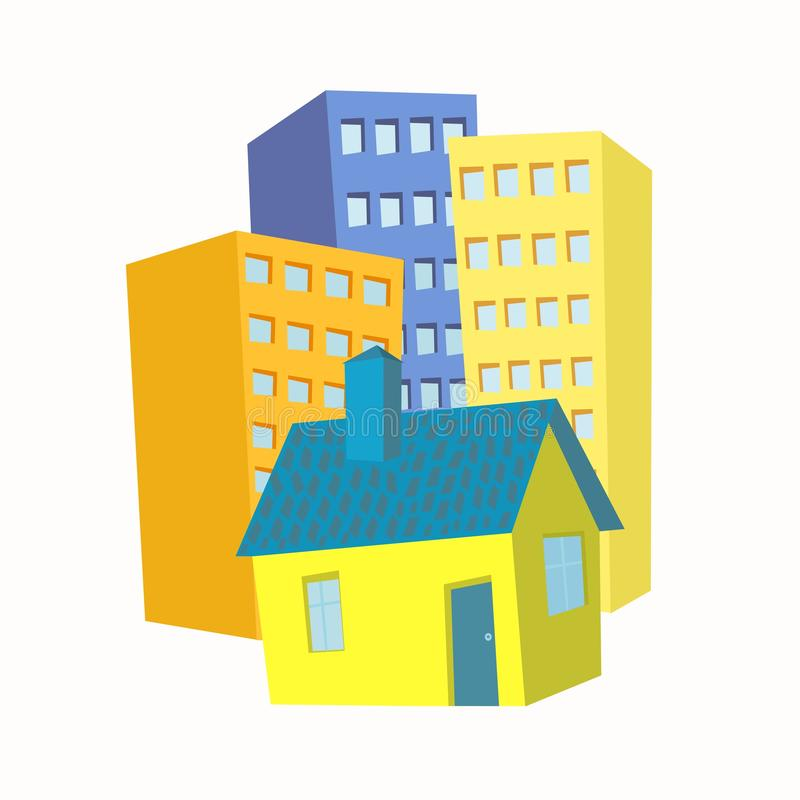 Small house in the background high-rise buildings royalty free illustration