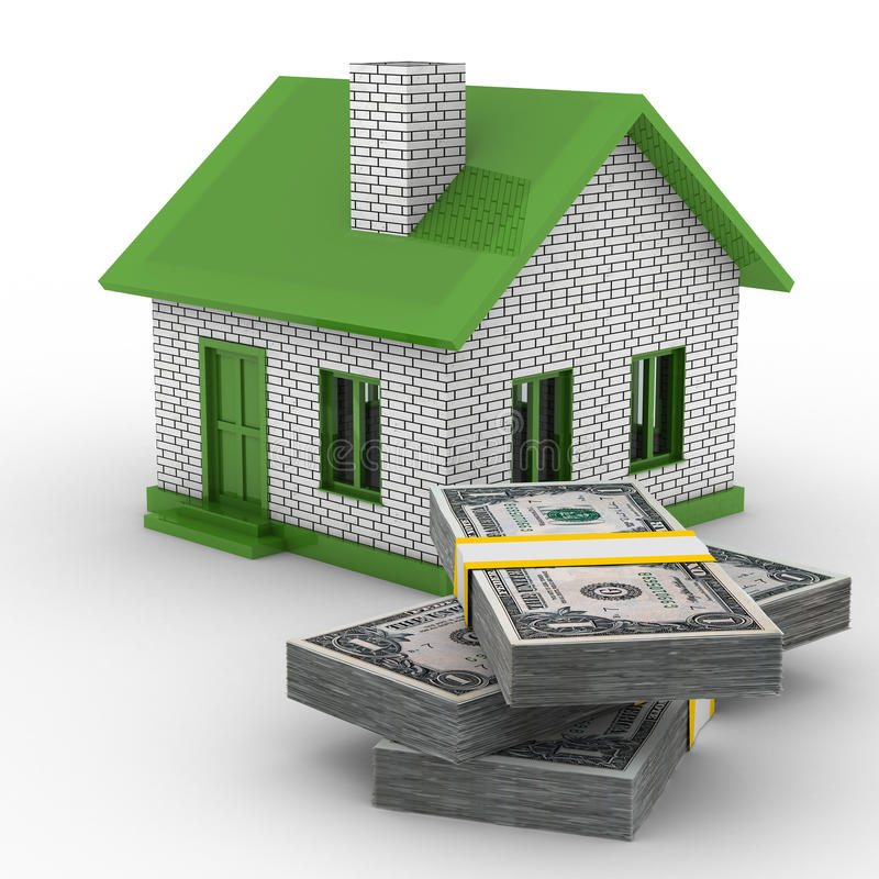 Download Small House And Cash On White Background Stock Illustration - Image: 12914847
