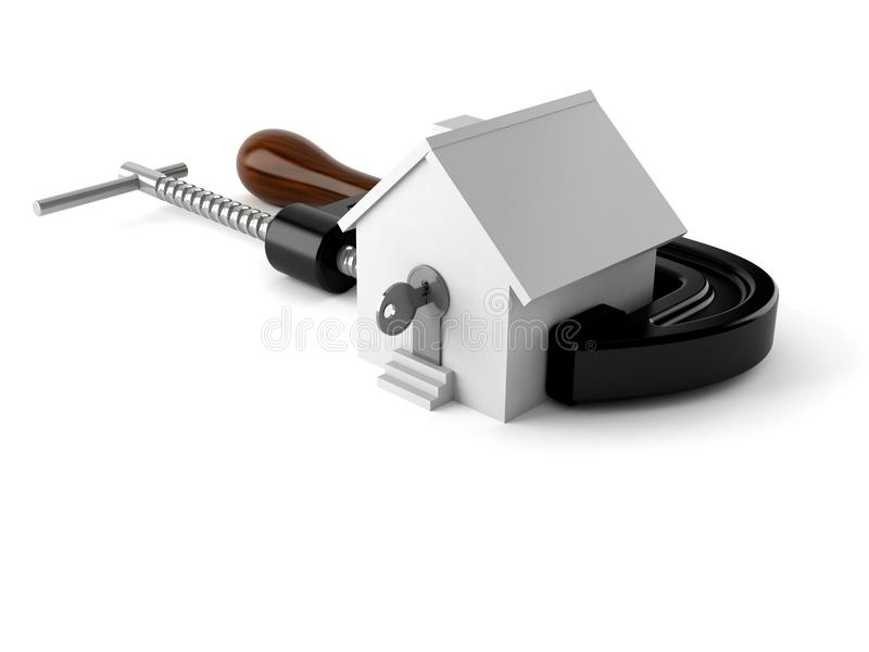 Small house with clamps. Isolated on white background vector illustration