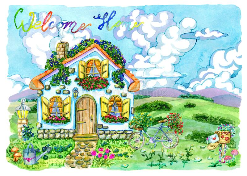 Small house with cute windows, beautiful garden and lettering stock illustration
