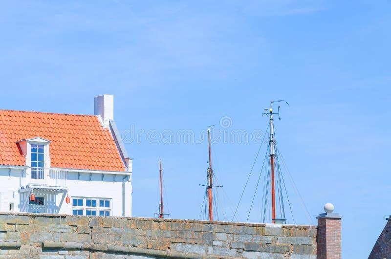 Small house at a harbor royalty free stock photo