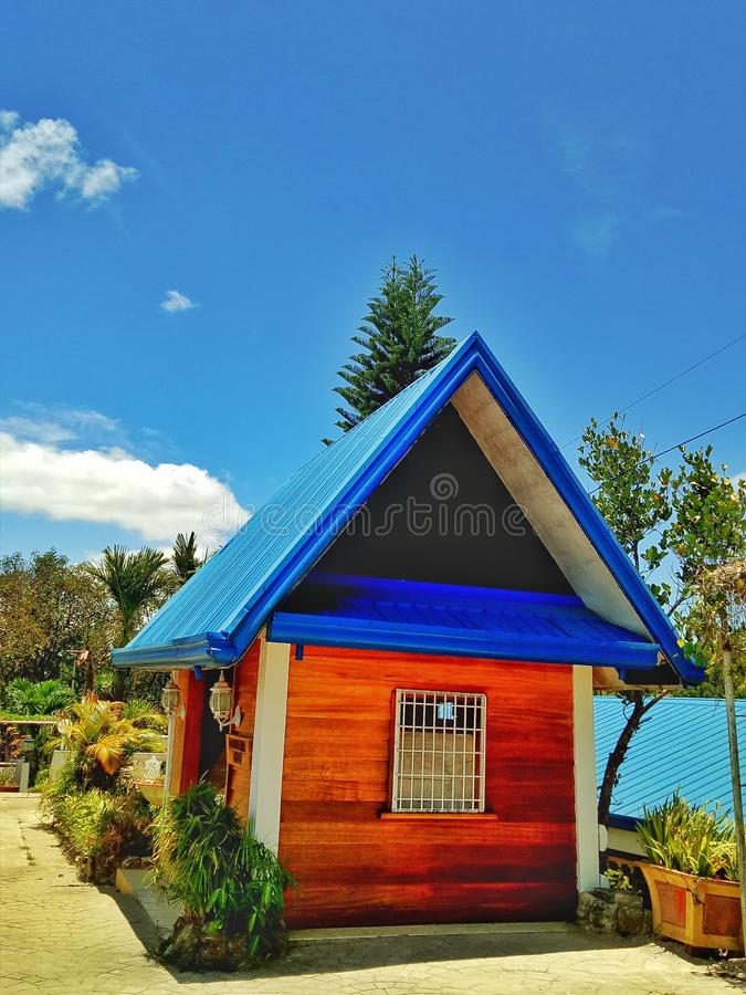 Small house on a hill. Small house hill sky park travel royalty free stock image