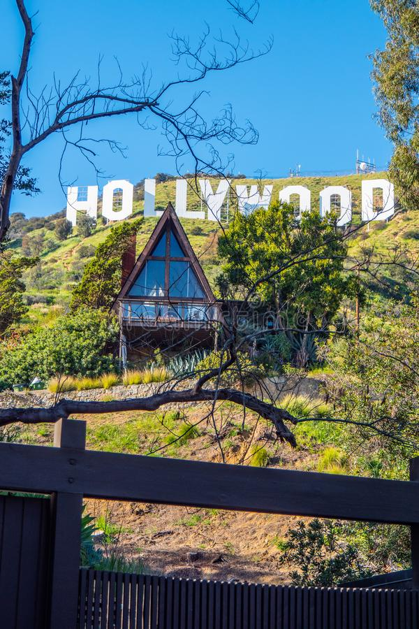 Small house at Hollywood sign - CALIFORNIA, USA - MARCH 18, 2019. Small house at Hollywood sign - CALIFORNIA, UNITED STATES - MARCH 18, 2019 stock image