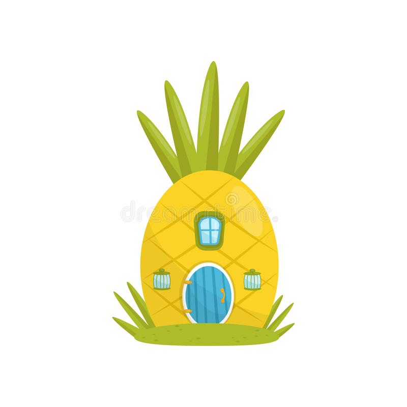 Small house made from pineapple, fairytale fantasy house for gnome, dwarf or elf vector Illustration on a white vector illustration