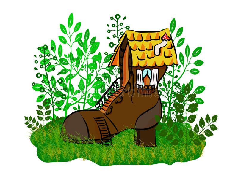 Small house a shoe vector illustration