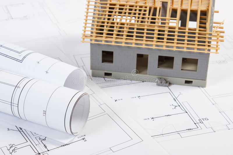 Download Small House Under Construction And Electrical Drawings, Concept Of Building Home Stock Image - Image of home, plan: 78821491