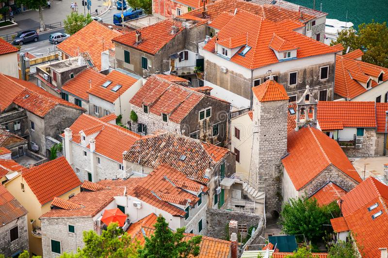 Small houses in the old town of Omis stock image