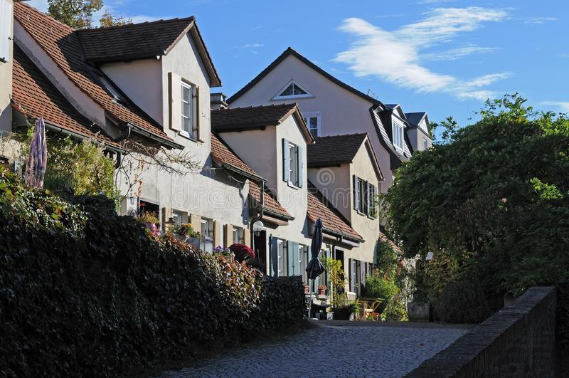 Small houses of 17th century on ramparts of Ulm. Small houses built in 17th century on the ramparts of Ulm for additional troops royalty free stock photo