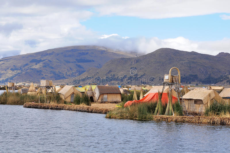 Small Houses On Uros Islands. Stock Photo