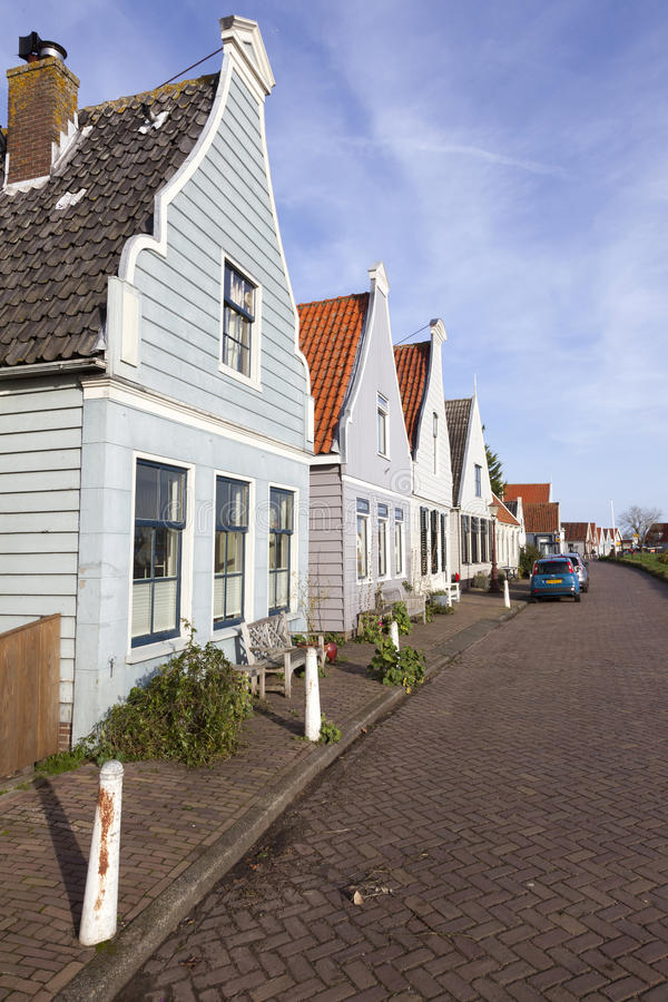 Small houses with wooden parts in durgerdam near amsterdam royalty free stock photo