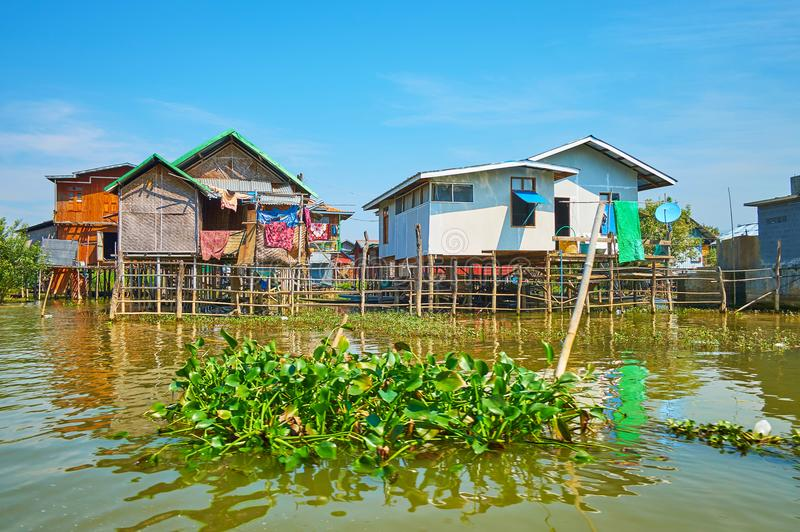 In village on Inle Lake, Myanmar. The small houses of Ywama village, located on Inle Lake and surrounded by floating farms, Myanmar royalty free stock photos